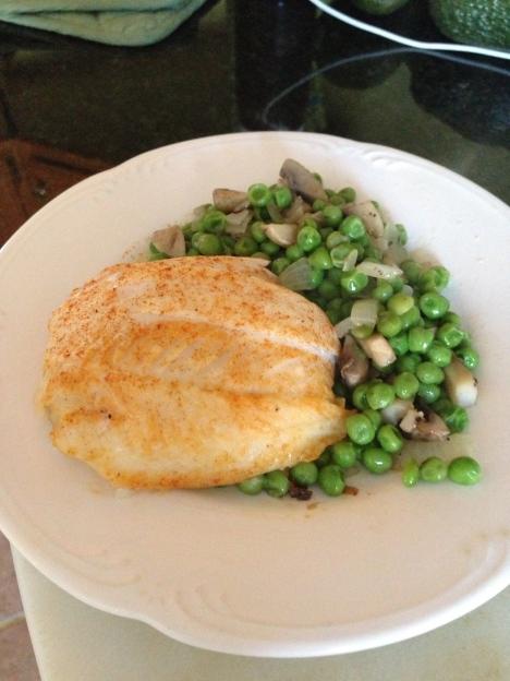 Baked Stuffed Flouder w/Peas & Mushrooms
